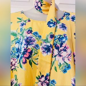 2X Yellow Floral Dress - Neckwear & POCKETS